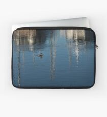 Young Red-Necked Grebe on Silver Laptop Sleeve