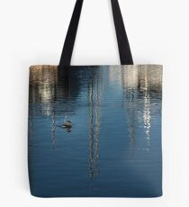 Young Red-Necked Grebe on Silver Tote Bag