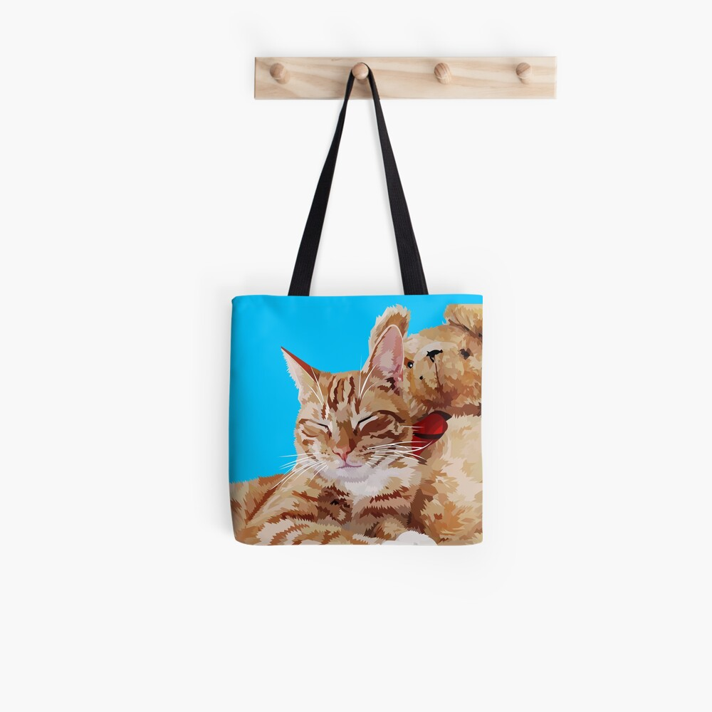 Cat with teddybear Tote Bag