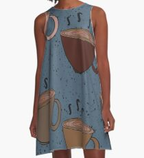Steaming Cupa' Tea and Cream with a Blue Background A-Line Dress