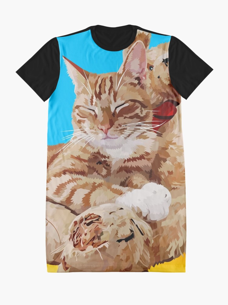 Alternate view of Cat with teddybear Graphic T-Shirt Dress