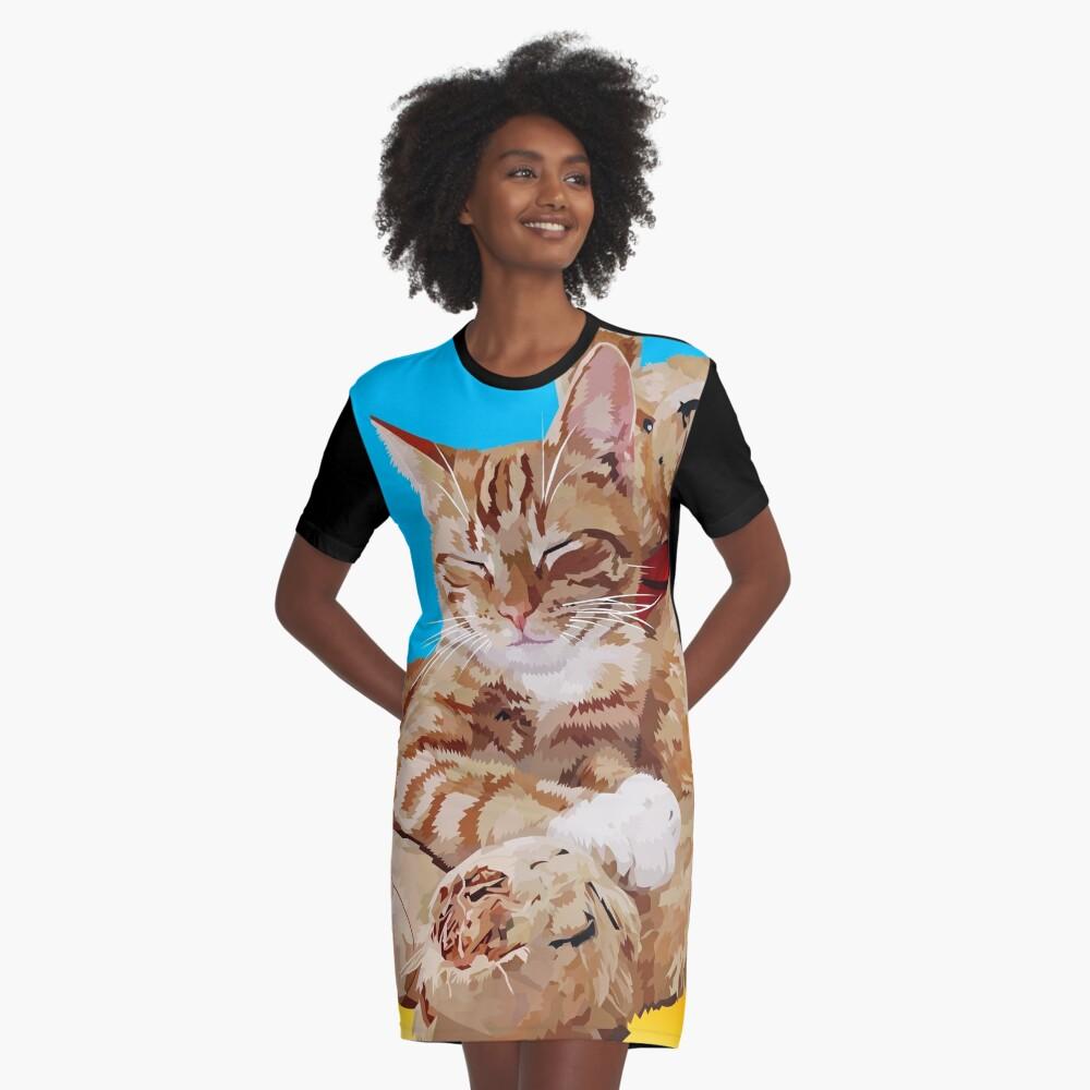 Cat with teddybear Graphic T-Shirt Dress