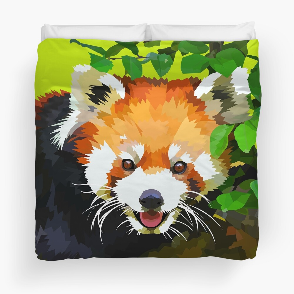 Happy Red panda in a tree Duvet Cover