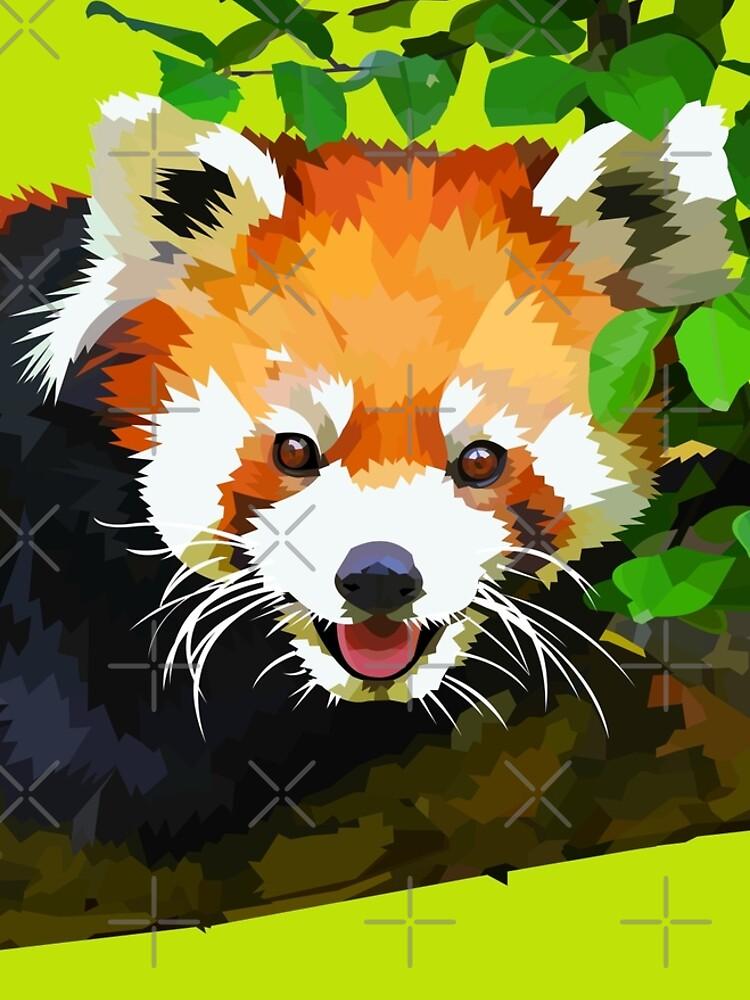 Happy Red panda in a tree by Elviranl