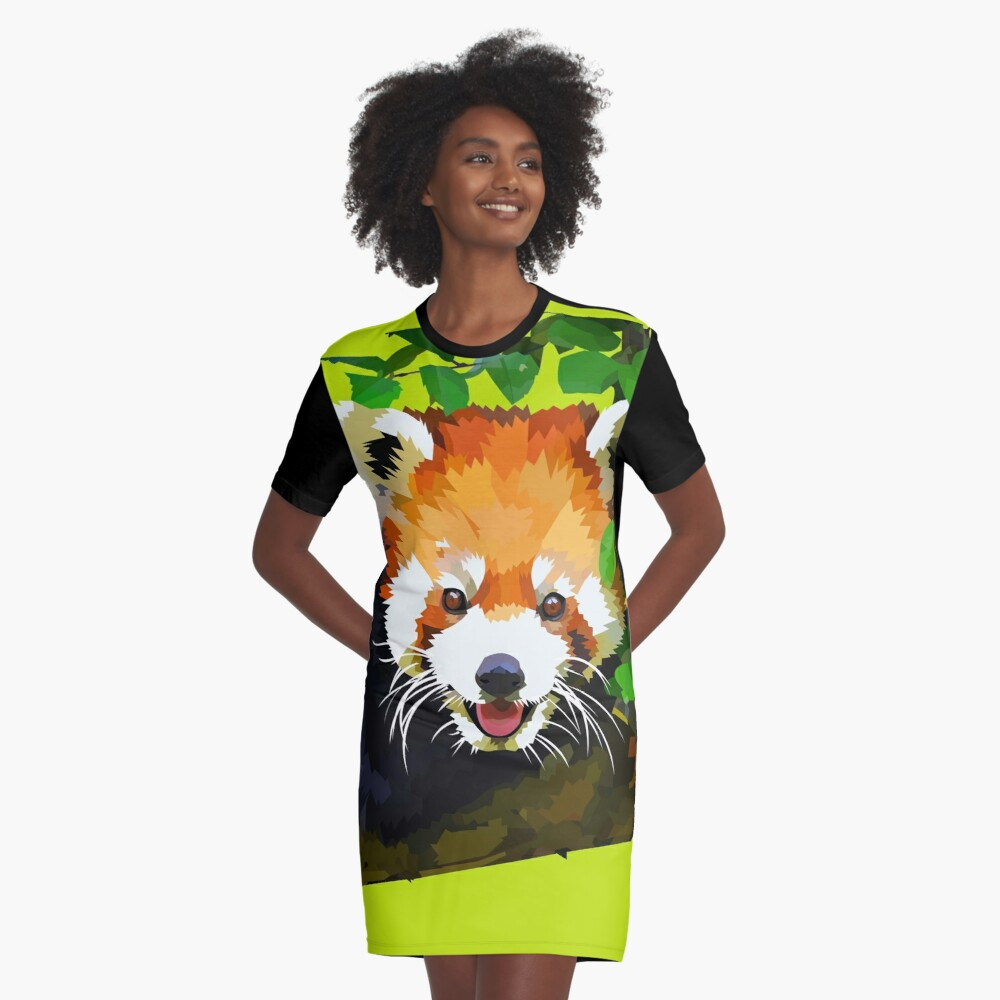 Happy Red panda in a tree Graphic T-Shirt Dress