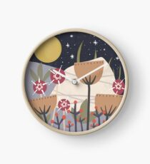 Star Field Meadow Floral Illustration Clock