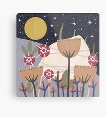 Star Field Meadow Floral Illustration Metal Print