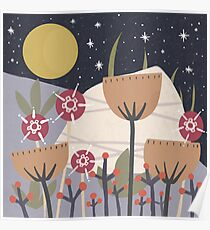 Star Field Meadow Floral Illustration Poster