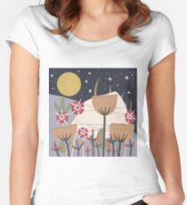 Star Field Meadow Floral Illustration Fitted Scoop T-Shirt