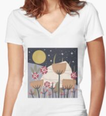 Star Field Meadow Floral Illustration Fitted V-Neck T-Shirt
