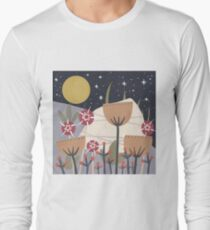 Star Field Meadow Floral Illustration Long Sleeve T-Shirt