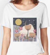Star Field Meadow Floral Illustration Relaxed Fit T-Shirt