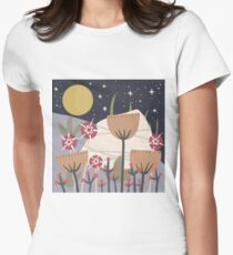 Star Field Meadow Floral Illustration Fitted T-Shirt