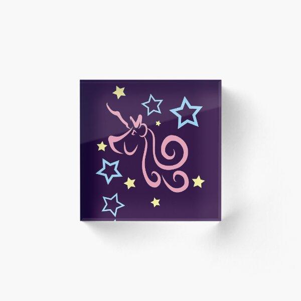 Purple Unicorns and Stars in Pink, Yellow & Blue Pattern Acrylic Block