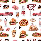 Retro Drive In Pattern by Laura-Lise Wong
