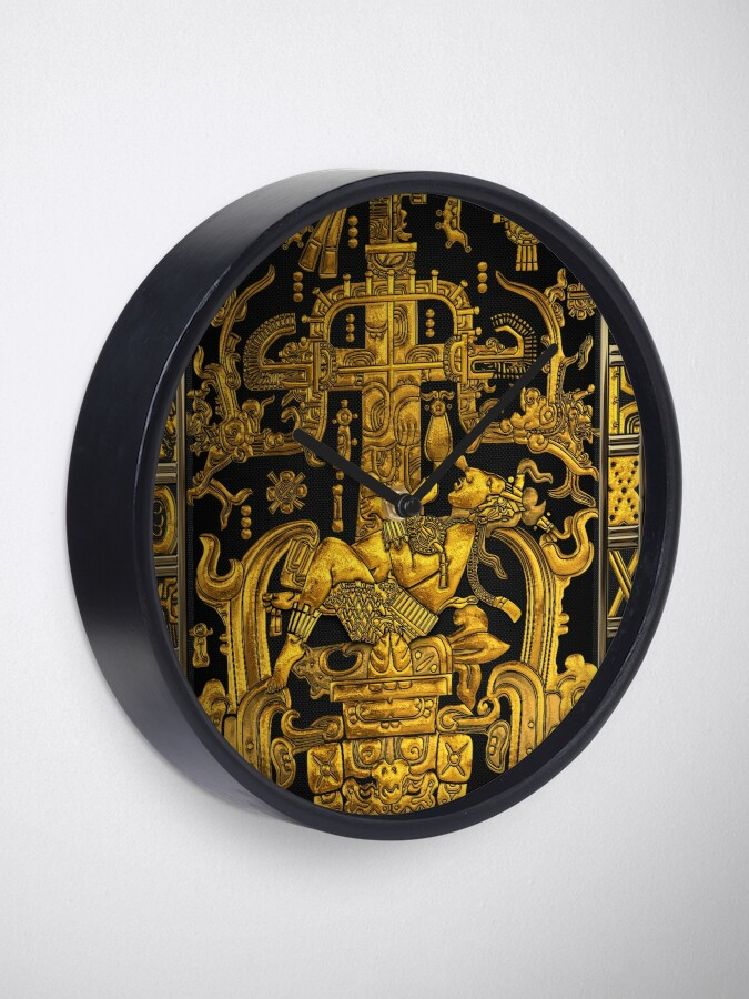 Alternate view of Lid of The Great Tomb of Pakal - Gold Palenque Astronaut over Black  Clock