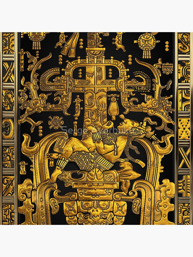 Lid of The Great Tomb of Pakal - Gold Palenque Astronaut over Black  by Captain7