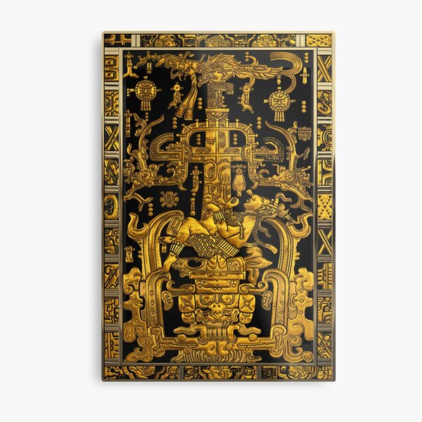 Lid of The Great Tomb of Pakal - Gold Palenque Astronaut over Black  Metal Print