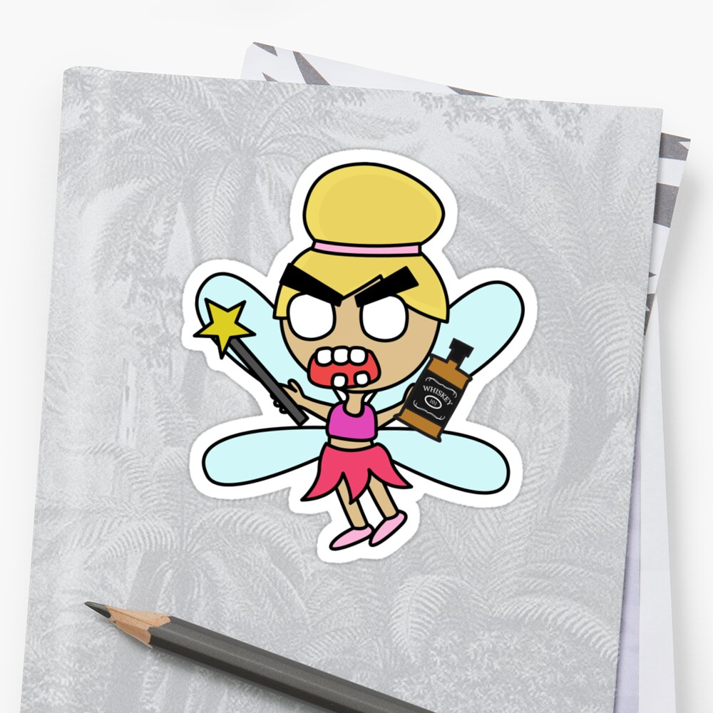 angry zombie whiskey fairy Sticker