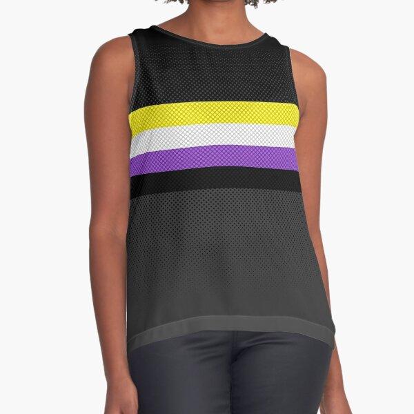 LGBT Non-Binary Pride Flag (Halftone stripes) Sleeveless Top