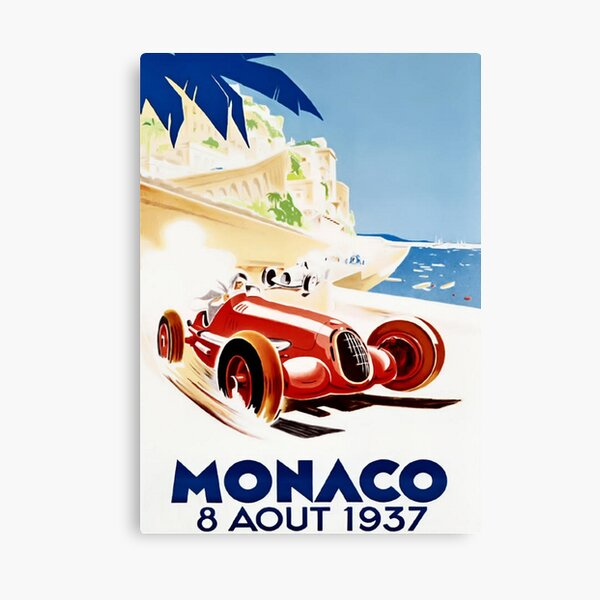Grand Prix Monaco 1937 Vintage Impression sur toile