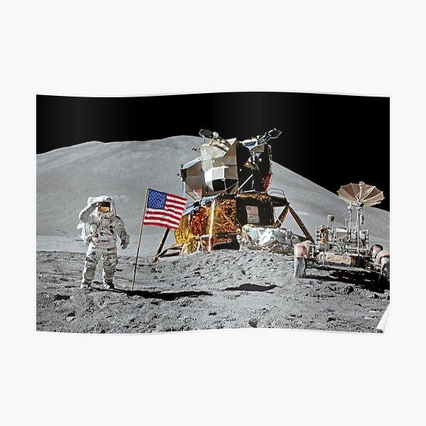 Apollo 15 James Irwin Flag Salute On Moon Print Poster Poster
