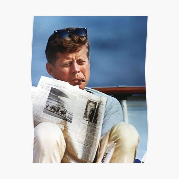 John F Kennedy Smoking Vintage Poster