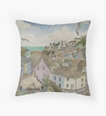 """A Crow's Nest View of Port Isaac, Cornwall"" Throw Pillow"
