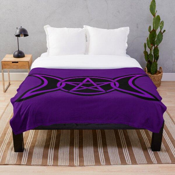 Triple Moon Goddess purple Throw Blanket