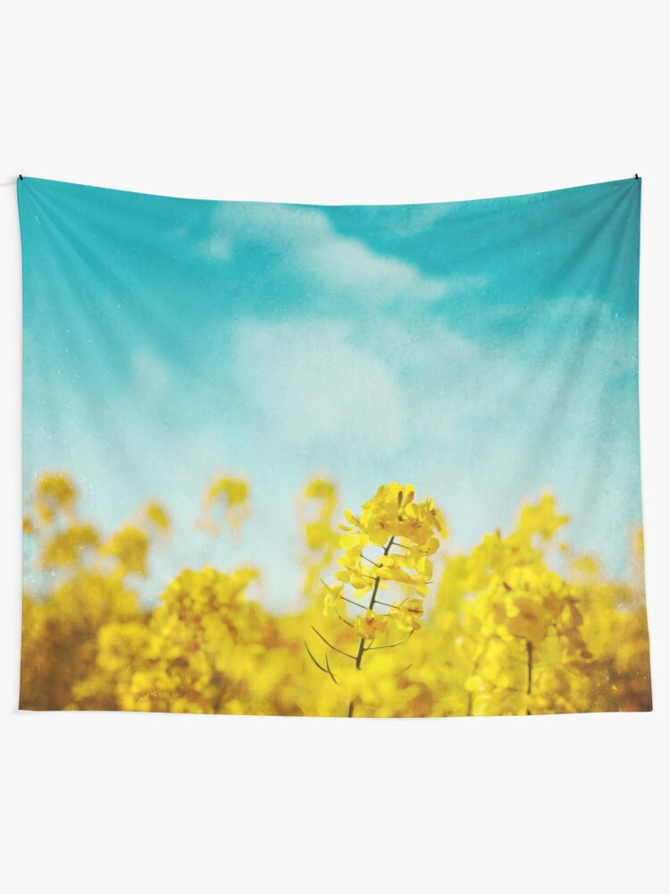 Alternate view of Spring Time - Blooming Rapeseed flowers Tapestry