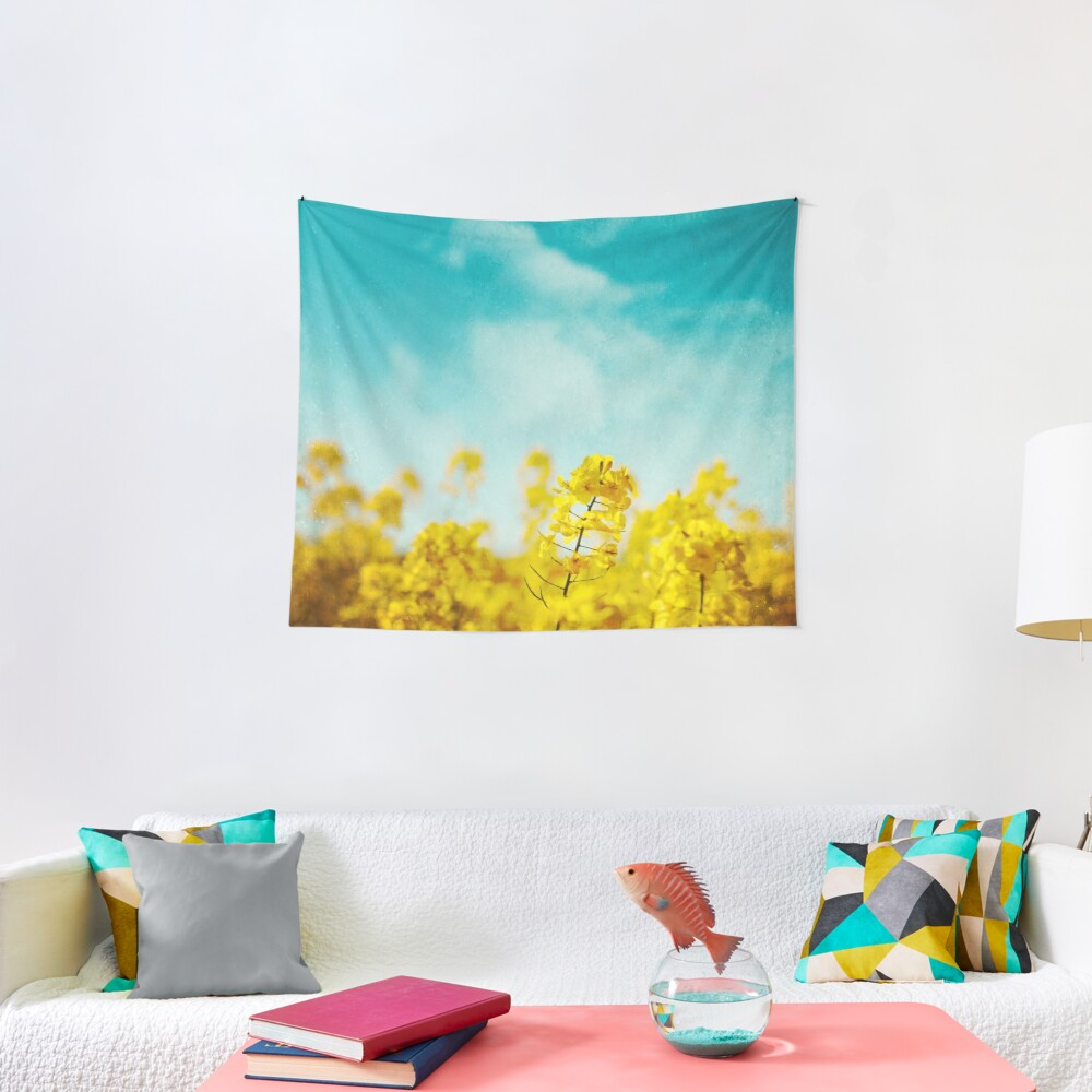 Spring Time - Blooming Rapeseed flowers Tapestry