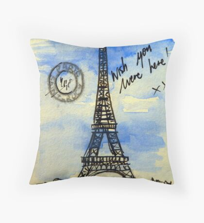 Postcard from Paris II - watercolour on paper Throw Pillow