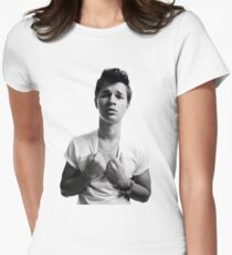 Ansel Elgort - Black & White Womens Fitted T-Shirt