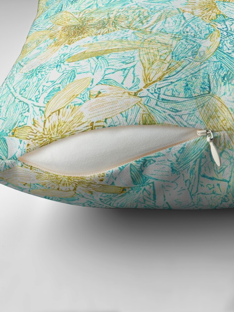 Alternate view of Hakea, Yellow Ochre and Aqua Blue Throw Pillow