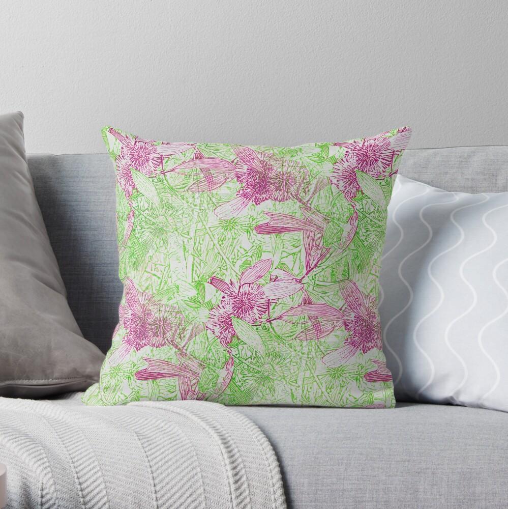 Hakea, Pink and Green Throw Pillow