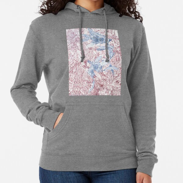Hakea, Red and Blue Lightweight Hoodie