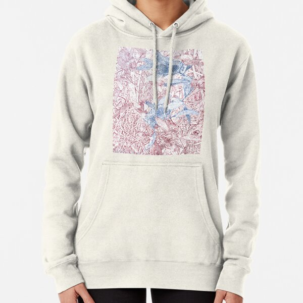 Hakea, Red and Blue Pullover Hoodie