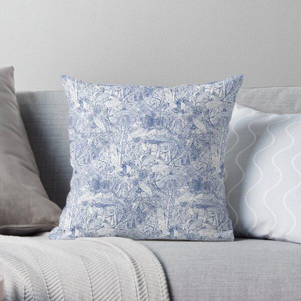 Hakea, Blue Throw Pillow