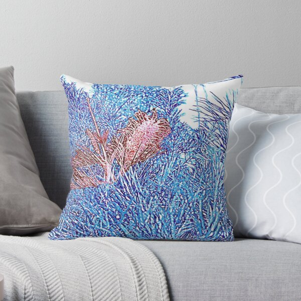 Red and Blue Grevillea Throw Pillow