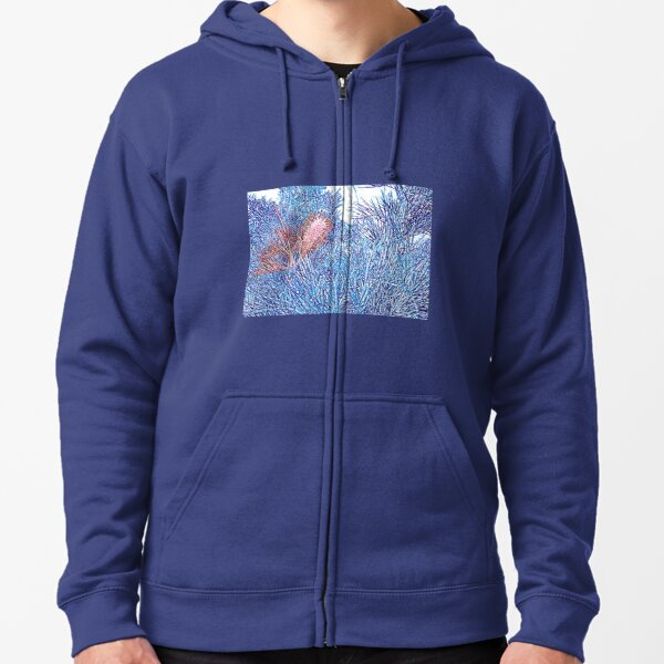 Red and Blue Grevillea Zipped Hoodie