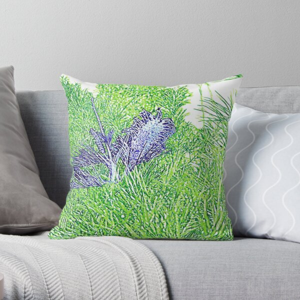 Green and Blue Grevillea Throw Pillow