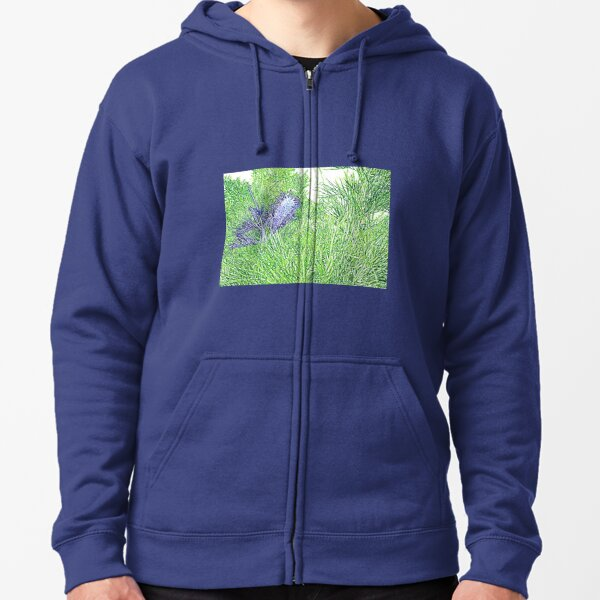 Green and Blue Grevillea Zipped Hoodie