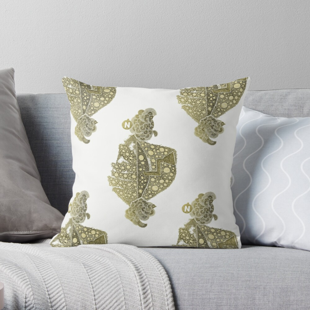 Carrickalinga Map 1 Gold Throw Pillow