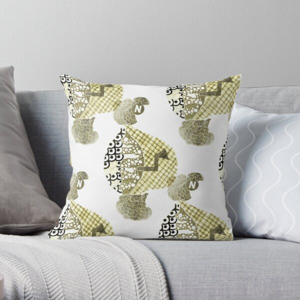 Carrickalinga Map 3 Gold Throw Pillow