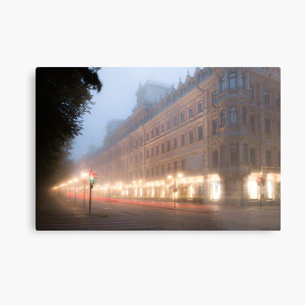 Foggy Esplanadi street in Helsinki Metal Print