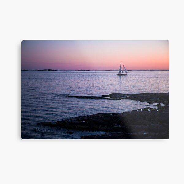 Sail boat sailing Baltic sea near Helsinki during the sunset time Metal Print