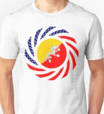 Bhutanese American Multinational Patriot Flag Series Slim Fit T-Shirt