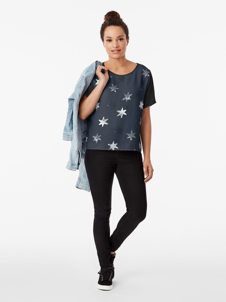 Alternate view of Stamped Star Chiffon Top