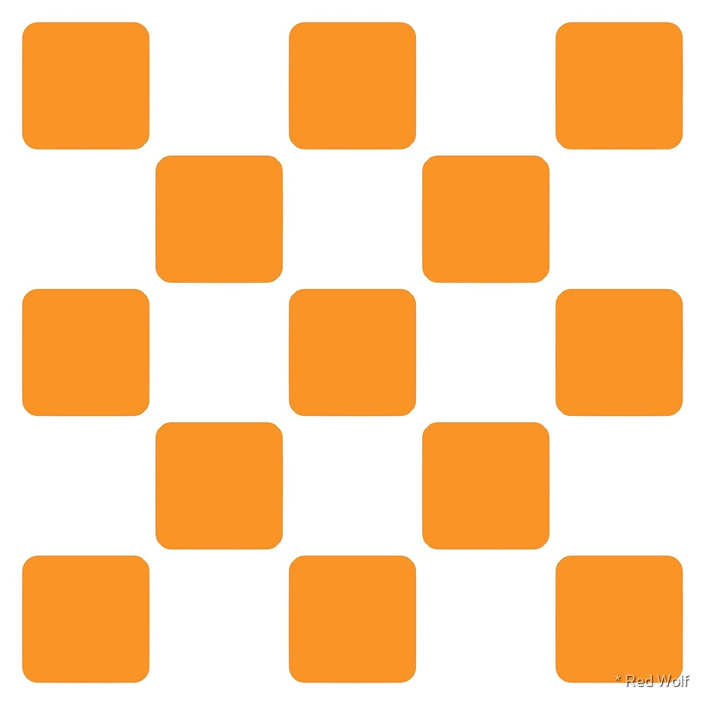 Geometric Pattern: Rounded Weave: White/Orange by * Red Wolf