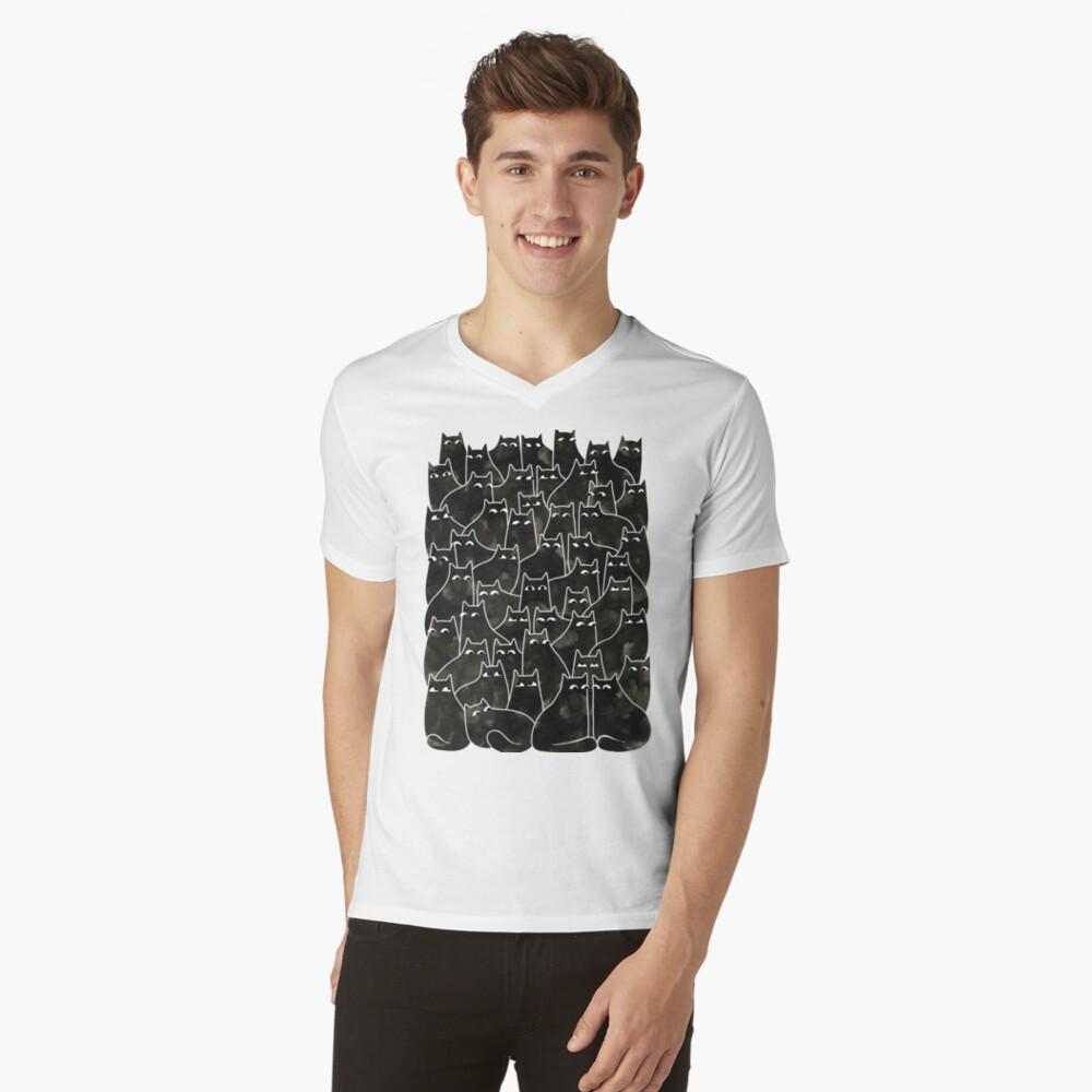 Suspicious Cats V-Neck T-Shirt